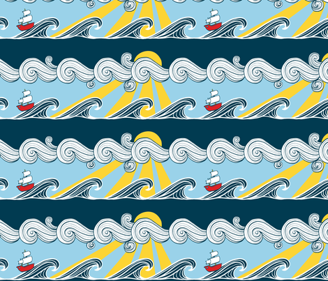 The Salty Sea - Red Boat on the Waves fabric by crowlands on Spoonflower - custom fabric