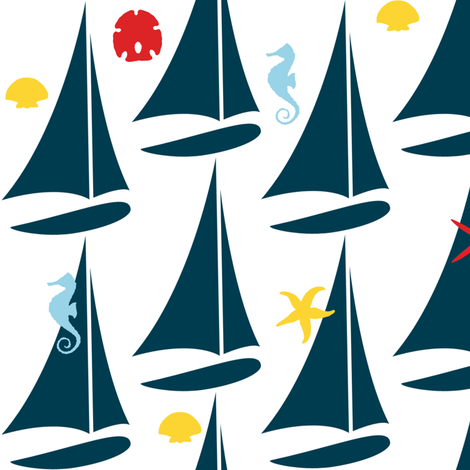 She sails seeking shells fabric by demouse on Spoonflower - custom fabric