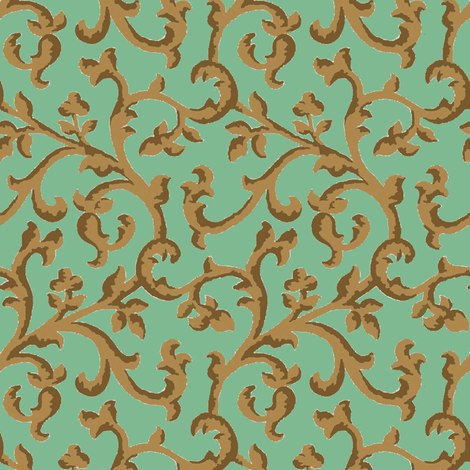 Aqua_Choco_Scroll fabric by kelly_a on Spoonflower - custom fabric