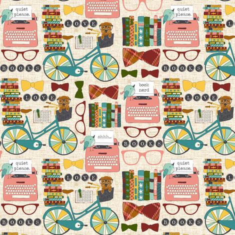 Vintage Book Nerd fabric by sara_berrenson on Spoonflower - custom fabric