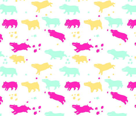Baby Hippos fabric by kness on Spoonflower - custom fabric