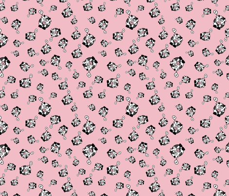 And the Cow Says Mu - Pink fabric by studiofibonacci on Spoonflower - custom fabric