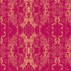 Oriental Wallpaper sketch fushia by Cynthia Tom-ch-ed