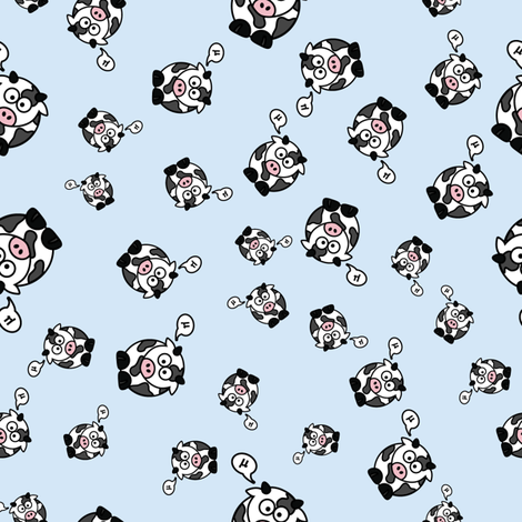 And the Cow Says Mu - Blue fabric by studiofibonacci on Spoonflower - custom fabric