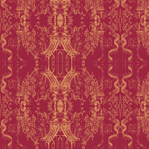 Oriental Wallpaper sketch fushia by Cynthia Tom-ch-ed-ed