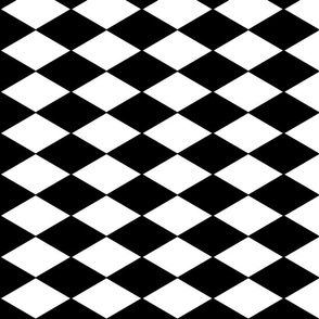 Harlequin Diamonds ~ Black &amp; White ~ Horizontal