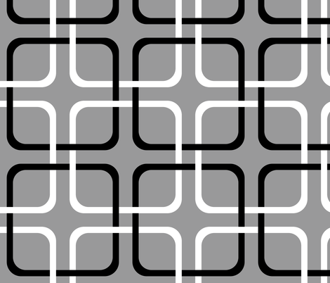Modern Cottage ~ Squircle Lock ~ Black, Grey & White fabric by peacoquettedesigns on Spoonflower - custom fabric