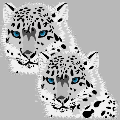 SNOW LEOPARD MATES fabric by bluevelvet on Spoonflower - custom fabric