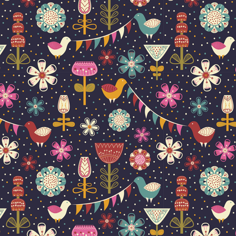 birds & flowers fabric by khandisha on Spoonflower - custom fabric