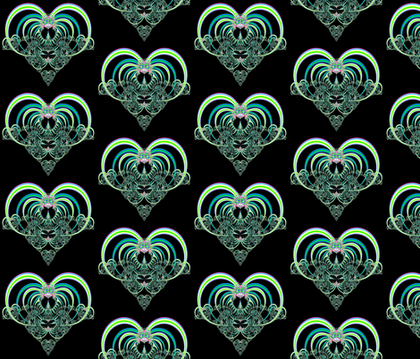 Fractal: Green and Aqua Hearts