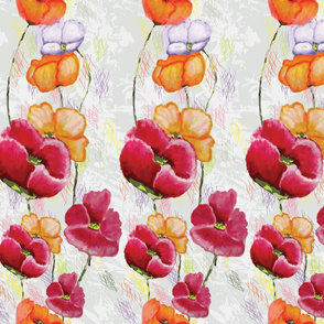 Poppy Ribbons (key design in gray)