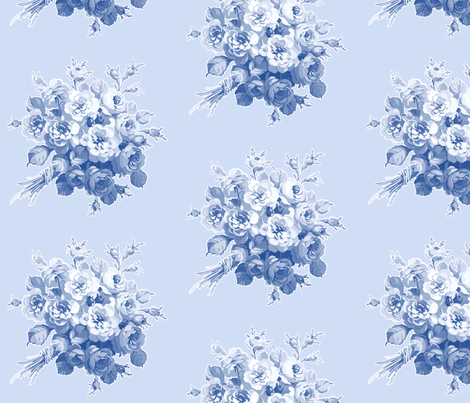 Jane's Rose Bouquet in Blueberry Blue fabric by lilyoake on Spoonflower - custom fabric