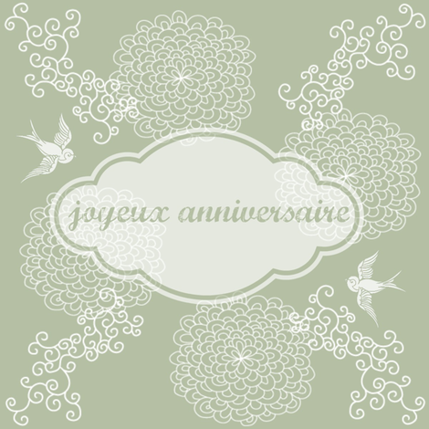 joyeux anniversaire green fabric by kfrogb on Spoonflower - custom fabric