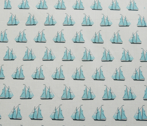 sailing ships - blue on white