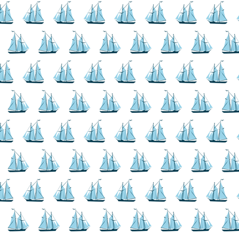sailing ships - blue on white fabric by ravynka on Spoonflower - custom fabric