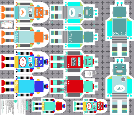 retro robots smaller - cut and sew template fabric by katarina on Spoonflower - custom fabric