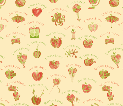 A is for Apple fabric by weavingmajor on Spoonflower - custom fabric