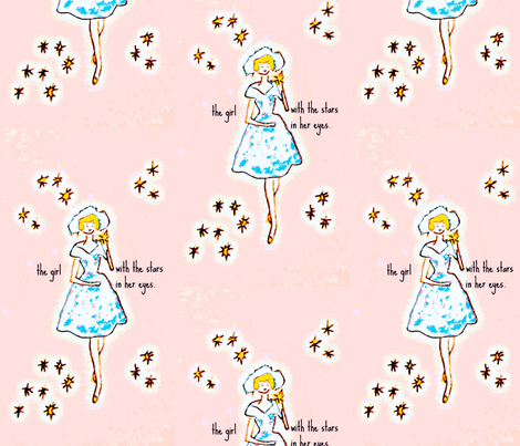 The girl with the stars in her eyes -xlarge fabric by bettinablue_designs on Spoonflower - custom fabric