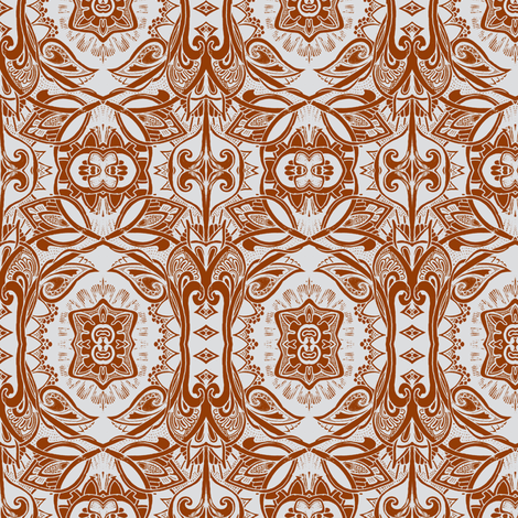 Coffee Damask (a psychedelic retro sixties vine and scallop trip) fabric by edsel2084 on Spoonflower - custom fabric