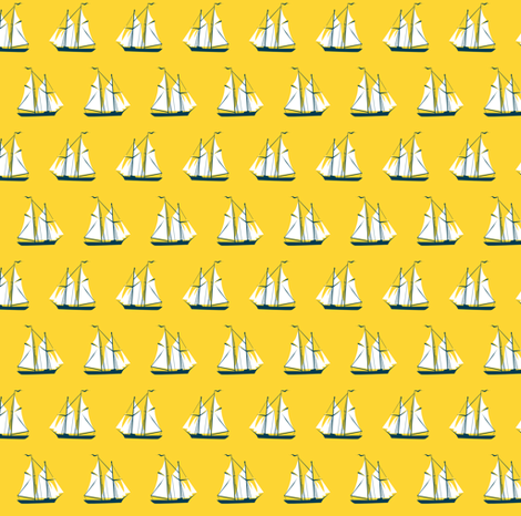 sailing ships - yellow fabric by ravynka on Spoonflower - custom fabric