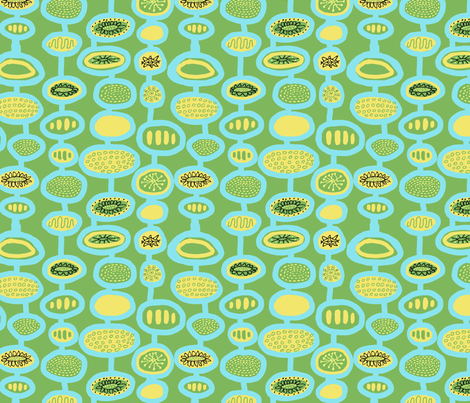 Mid Century Flowers Blue Green fabric by vinpauld on Spoonflower - custom fabric