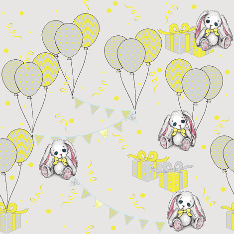 happy birthday bunny fabric by mezzime on Spoonflower - custom fabric