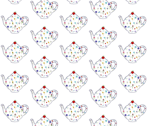 Floral Teapot fabric by de-ann_black on Spoonflower - custom fabric