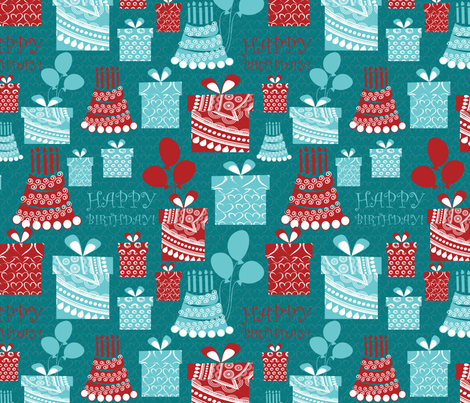 happy birthday 3 fabric by kociara on Spoonflower - custom fabric