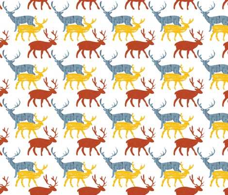 Deer_Blue fabric by ©_lana_gordon_rast_ on Spoonflower - custom fabric