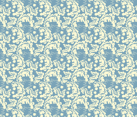 Leaves___Acorns_Blue fabric by ©_lana_gordon_rast_ on Spoonflower - custom fabric