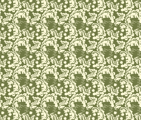 Leaves___Acorns_Green fabric by ©_lana_gordon_rast_ on Spoonflower - custom fabric
