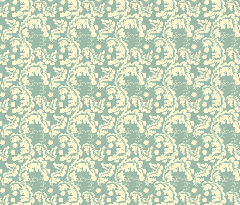 Leaves___Acorns_Soft_Aqua fabric by ©_lana_gordon_rast_ on Spoonflower - custom fabric