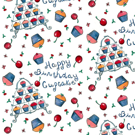 Happy Birthday Cupcake fabric by countrygarden on Spoonflower - custom fabric