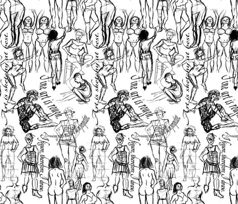 Figure Drawing Town - Black and White fabric by telden on Spoonflower - custom fabric