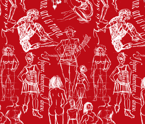 Figure Drawing  Town - Red fabric by telden on Spoonflower - custom fabric