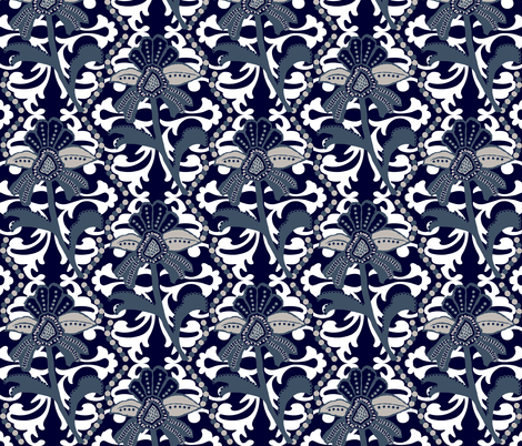Indy's indigo Mod fabric by paragonstudios on Spoonflower - custom fabric