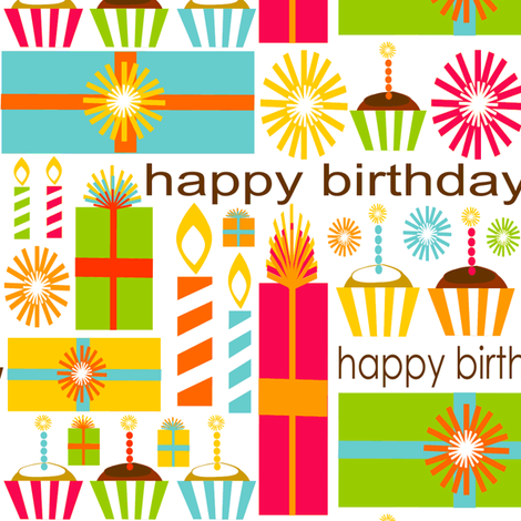 Bold & Bright Birthday fabric by simplysweet on Spoonflower - custom fabric
