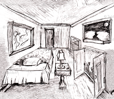 Room Sketch With Bed, Lamp - Grayscale