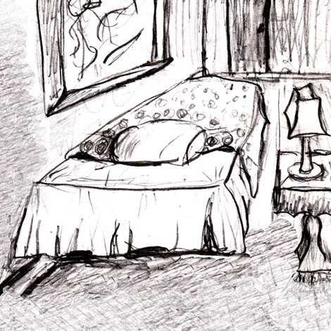 Room Sketch With Bed, Lamp - Grayscale fabric by telden on Spoonflower - custom fabric