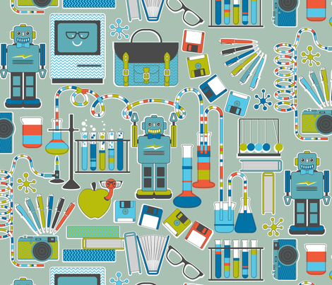 Retro Geek Chic blue fabric by cjldesigns on Spoonflower - custom fabric