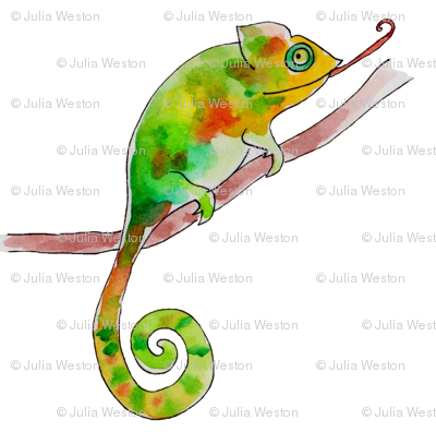 chameleon in white