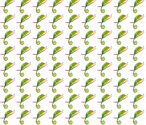 chameleon in white fabric by rainbow_reindeer on Spoonflower - custom fabric