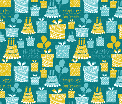 happy birthday 2 fabric by kociara on Spoonflower - custom fabric