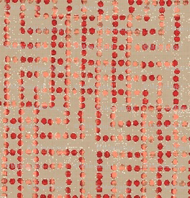 edo bead - taupe, salmon, red