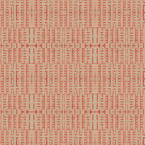 edo bead - taupe, salmon, red fabric by materialsgirl on Spoonflower - custom fabric