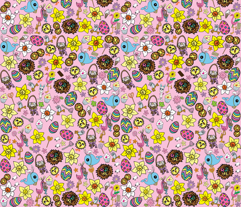 Pink Easter Megamix fabric by gazeofdolls on Spoonflower - custom fabric