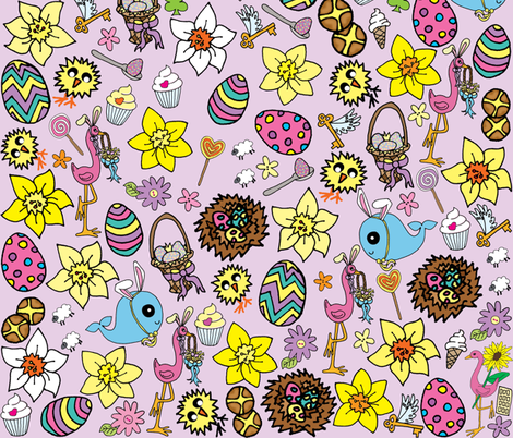 Purple Easter Megamix fabric by gazeofdolls on Spoonflower - custom fabric
