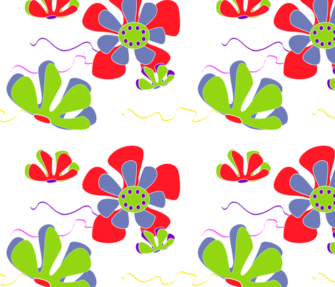 flower ocean red green blue fabric by kaija on Spoonflower - custom fabric