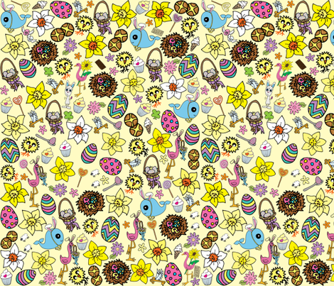 Yellow Easter Megamix fabric by gazeofdolls on Spoonflower - custom fabric