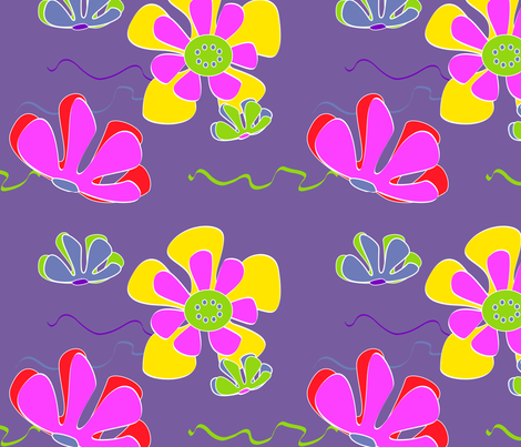deep purple flower ocean fabric by kaija on Spoonflower - custom fabric